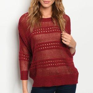 Burgundy 3/4 sleeve crewneck light knit sweater
